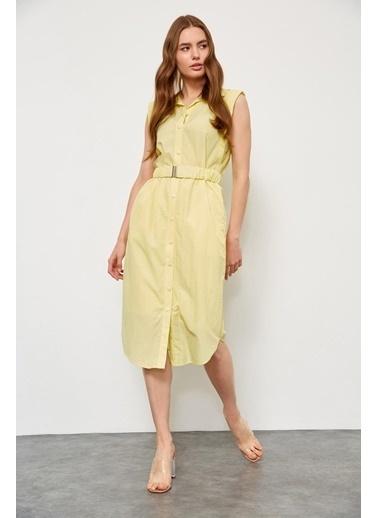 Setre Limon Kremi Kemerli Kolsuz Elbise Renkli